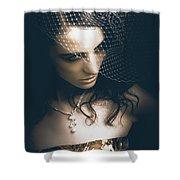 Close Up Portrait Of A Beautiful Vintage Bride Shower Curtain