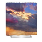 Cloudscape Sunset Touch Of Blue Shower Curtain