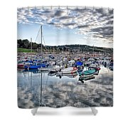 Cloudy Morning - Lyme Regis Harbour Shower Curtain