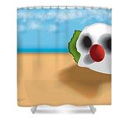 Clown Skull In The Desert Shower Curtain