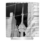 Cn Tower Reflected Shower Curtain
