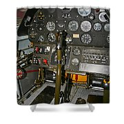 Cockpit Of A P-40e Warhawk Shower Curtain