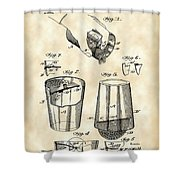 Cocktail Mixer And Strainer Patent 1902 - Vintage Shower Curtain