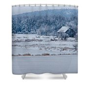 Cold Blue Snow Shower Curtain
