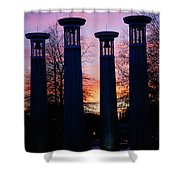 Colonnade In A Park At Sunset, 95 Bell Shower Curtain