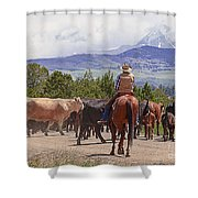 Colorado Cowboy Cattle Drive Shower Curtain