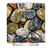 Colored Polished Rocks Shower Curtain