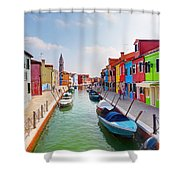 Colorful Houses And Canal On Burano Island Near Venice Italy Shower Curtain