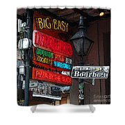 Colorful Neon Sign On Bourbon Street Corner French Quarter New Orleans Poster Edges Digital Art Shower Curtain