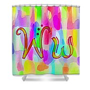 Colorful Texturized Alphabet Ww Shower Curtain