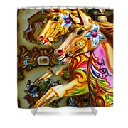 Colourful Fariground Horses On A Carousel Shower Curtain