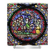Colourful Stained Glass Window In Shower Curtain by Terence Waeland