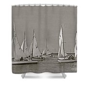 Comet Race In Black And White  Shower Curtain