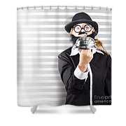 Comic Business Man Holding Big Service Bell Shower Curtain