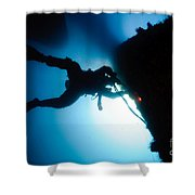 Commercial Diver At Work Shower Curtain