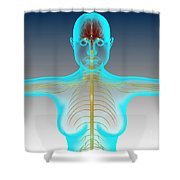 Conceptual Image Of Female Nervous Shower Curtain