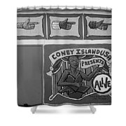 Coney Island Alive In Black And White Shower Curtain