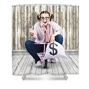 Corrupt Business Thief In A Smart Stealing Scam Shower Curtain