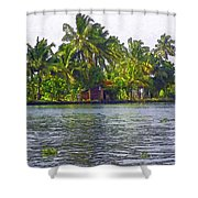 Cottage In The Midst Of Greenery Shower Curtain