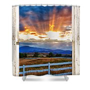 Country Beams Of Light Barn Picture Window Portrait View  Shower Curtain