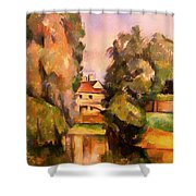 Country House By A River Shower Curtain