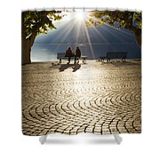 Couple On A Bench Shower Curtain