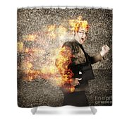 Crazy Businessman Running Engulfed In Fire. Late Shower Curtain