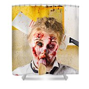 Crazy Sick Monster Eating Gmo Food Shower Curtain