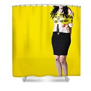Creepy Homicide Girl Standing Undead On Yellow Shower Curtain