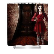 Creepy Woman With Bloody Scissors In Haunted House Shower Curtain