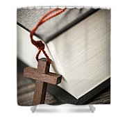 Cross And Bible Shower Curtain