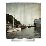 Cruise Ship At Port, Kingstown, Saint Shower Curtain