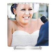 Crying And Laughing Bride Shower Curtain