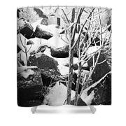 Cut Stone Blocks Backyard Snow Aberdeen South Dakota 1965 Black And White Shower Curtain