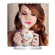 Cute Brunette Woman Drinking Hot Coffee Indoors Shower Curtain