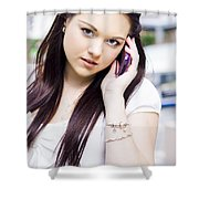 Cute Sales Woman Discussing Business Deal On Phone Shower Curtain