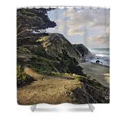 Cypress Path Impasto Shower Curtain