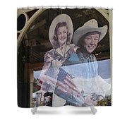 Dale Evans Roy Rogers Cardboard Cut-outs Flag Reflection Helldorado Days Tombstone 2004 Shower Curtain