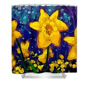 Dancing Daffodils Cropped  Shower Curtain