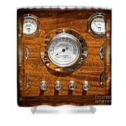 Dashboard In A Classic Wooden Boat Shower Curtain