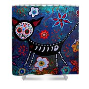 Day Of The Dead Chihuahua Shower Curtain
