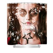 Day Of The Dead Girl Blowing Party Bubbles Shower Curtain