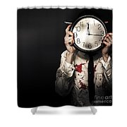 Dead Business Person Holding End Of Time Clock Shower Curtain