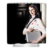 Dead Female Zombie Worker Holding Briefcase Shower Curtain