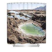 Dead Sea Sinkholes  Shower Curtain by Eyal Bartov