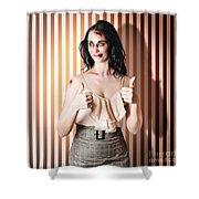 Dead Set Business Woman Ready With Thumbs Up Shower Curtain