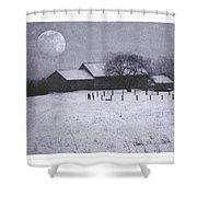 December Moonrise Farmstead Shower Curtain