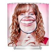Dentist Showing White Teeth In A Dental Checkup Shower Curtain