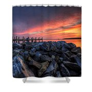 Dewey Beach Sunset Shower Curtain