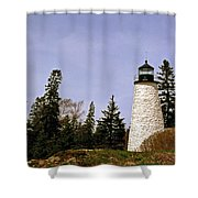 Dice Head Lighthouse Shower Curtain